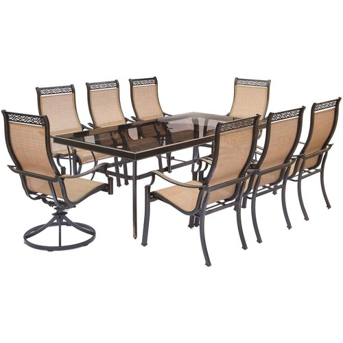 Hanover Monaco 9-Piece Aluminum Outdoor Dining Set with Rectangular Glass-Top Table and 2 Swivel Chairs