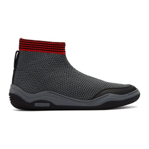 LANVIN Black & Grey Mesh High-Top Sneakers