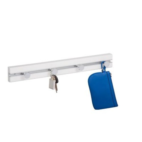 Honey Can Do White Wall Rack with 4 Hooks, white ( HNG-04418 )