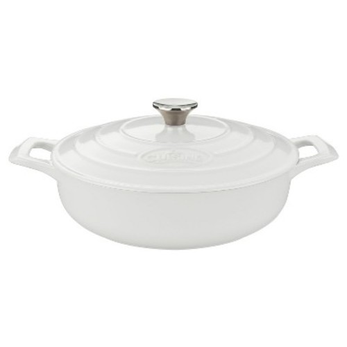 La Cuisine LC 3180 Saute 3.75 Qt. Cast Iron Casserole - White