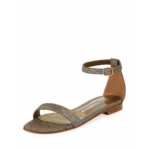 MANOLO BLAHNIK Chafla Flat Ankle-Strap Sandal