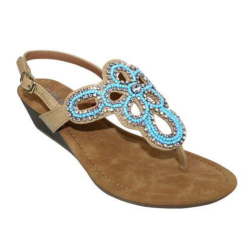 Olivia Miller Embellished Wedge Sandals