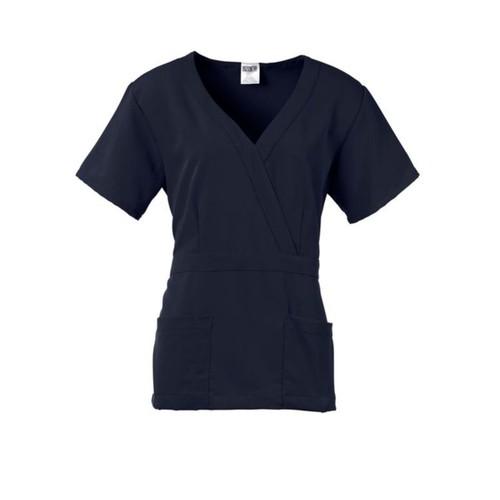 Park AVE Mock Wrap Ladies Scrub Top, Navy, Medium