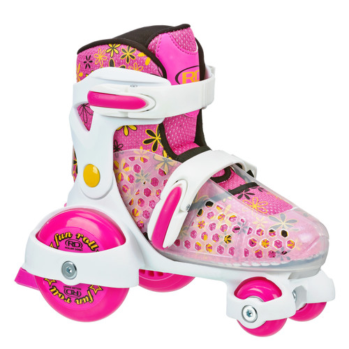 Roller Derby Fun Roll Girl's Jr Adjustable Roller Skate in White/Pink/Yellow