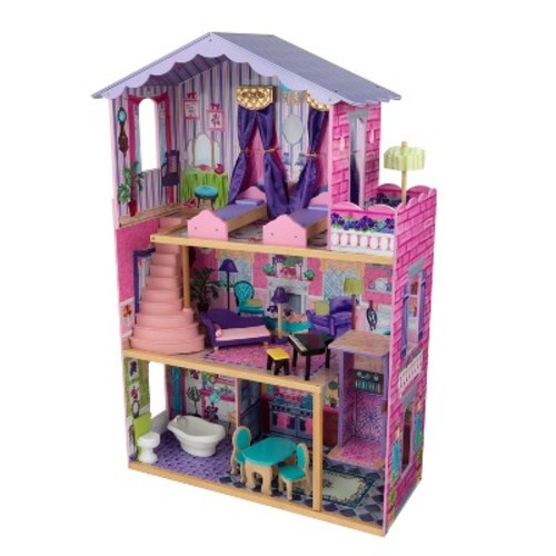 KidKraft My Dream Mansion Wooden Dollhouse Gliding Elevator 13 Wooden Furniture