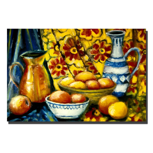 Trademark Global Michelle Calkins 'Still Life with Oranges' Canvas Art [Overall Dimensions : 22x32]