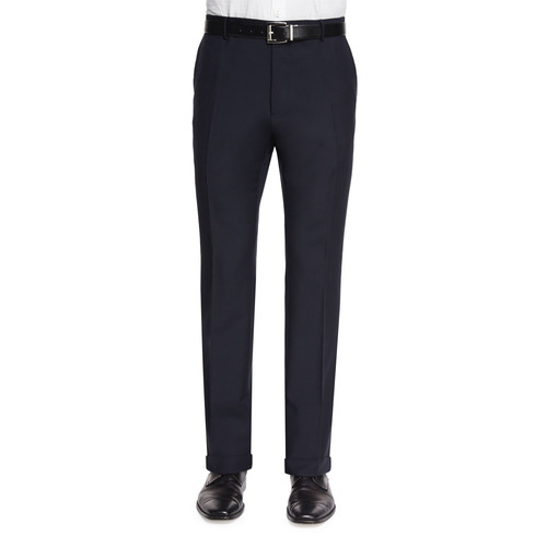 BURBERRY LONDON Modern-Fit Wool/Mohair Trousers, Navy