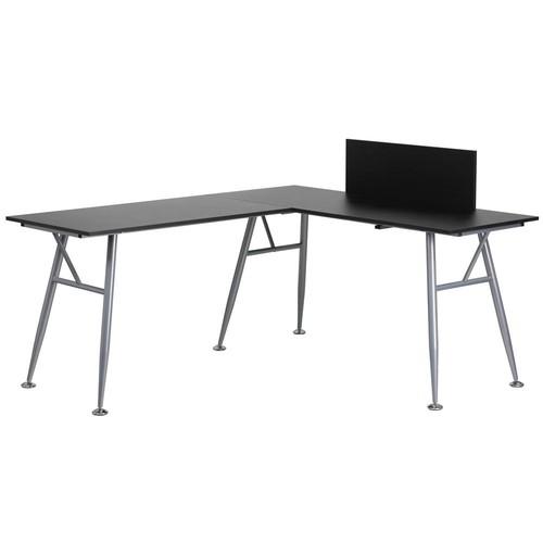 Flash Furniture Black Laminate L-Shape Computer Desk with Silver Frame Finish