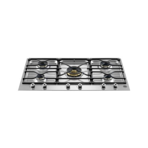 Bertazzoni Design Series PM36500X 36 Segmented Gas Cooktop 5 Sealed Burners, 18,000 BTU Brass Burn