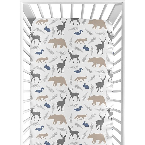 Sweet Jojo Designs Fitted Crib Sheet for Woodland Animals Baby/Toddler Bedding Set Collection - Animal Print