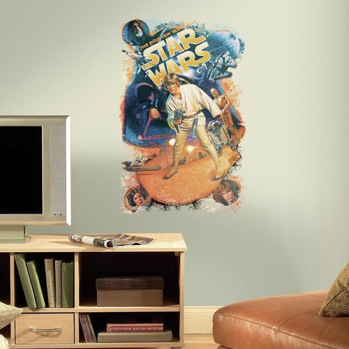 RoomMates 2.5 in. W x 27 in. H Star Wars Retro Mega 1-Piece Peel and Stick Giant Wall Decal