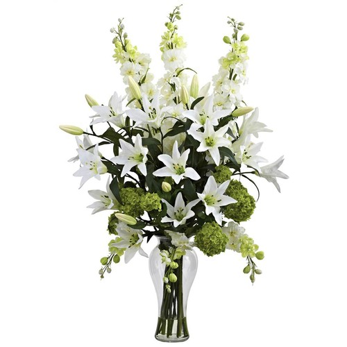 Nearly Natural Lily, Delphinium and Hydrangea Arrangement in White and Green