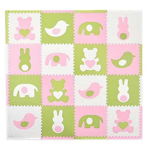 Tadpoles by Sleeping Partners Teddy & Friends 16-Piece Playmat Set in Pink/White/Green