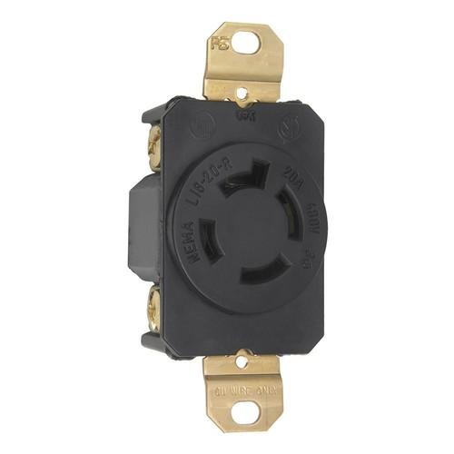 Turnlok 20 Amp 480-Volt Locking Receptacle, Black