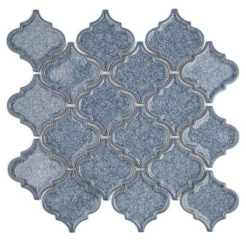 Splashback Tile Roman Selection Iced Blue Lantern Glass Mosaic Tile - 3 in. x 6 in. Tile Sample