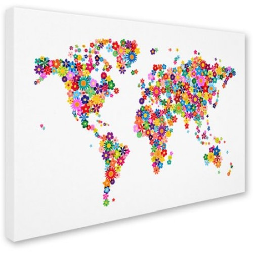 Flowers World Map 2 by Michael Tompsett work, 14 by 19-Inch Canvas Wall Art [14 by 19-Inch]