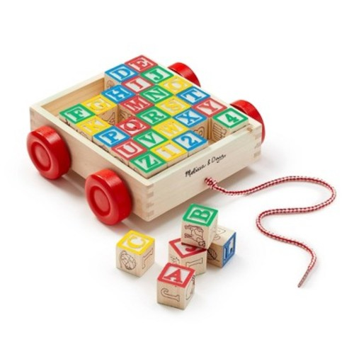 Melissa & Doug Classic ABC Wooden Block Cart Educational Toy With 30 Solid Wood Blocks [Standard]