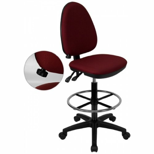 Mid-Back Fabric Multi-Functional Drafting Stool with Adjustable Lumbar Support Burgundy/No Arms [Burgundy,no Arms]