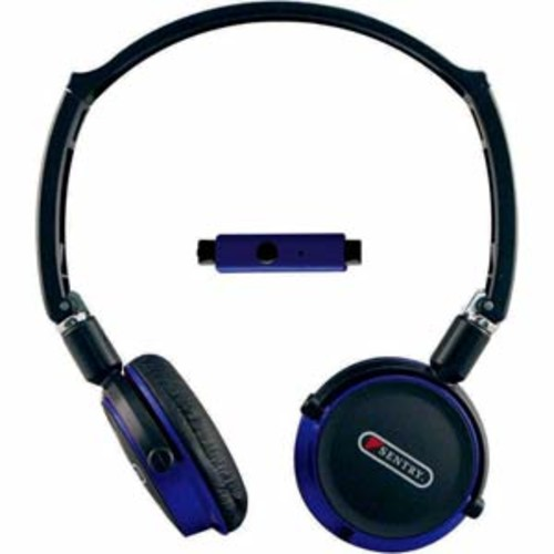 Sentry Industries Inc. Flat Folding Stereo Headphones with Mic - Blue