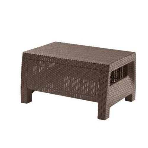 Keter Corfu Coffee Table Modern All Weather Outdoor Patio Garden Backyard Furniture, Brown [Harvest Brown, Corfu Coffee Table]