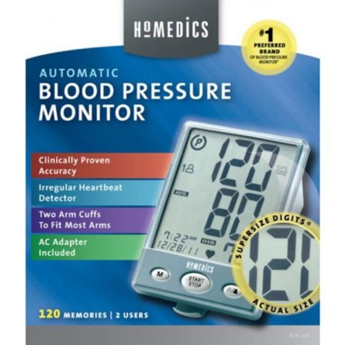 HoMedics BPA-201 Automatic Arm Blood Pressure Monitor with Supersize Digits, Smart Measure Technology, Two Arm Cuffs and Irregular Heartbeat Detector