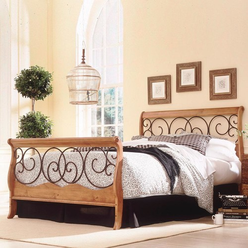 Leggett and Platt Dunhill Honey Oak Full-Size Complete Bed with Wood Sleigh Style Frame and Autumn Brown Metal Swirling Scrolls