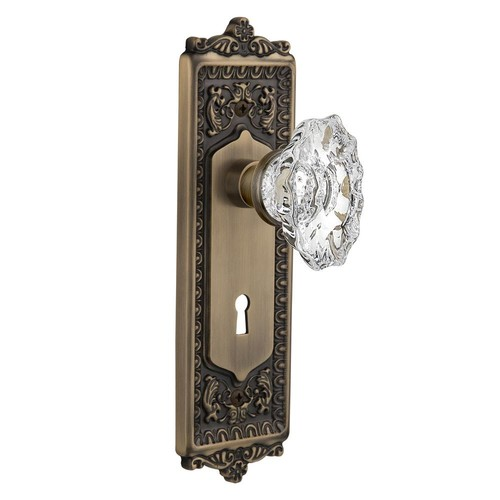 Nostalgic Warehouse Egg and Dart Plate with Keyhole 2-3/8 in. Backset Antique Brass Privacy Chateau Door Knob