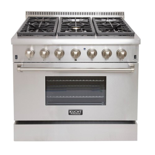 Kucht Pro-Style 36 in. 5.2 cu. ft. Dual Fuel Range with Sealed Burners and Convection Oven in Stainless Steel