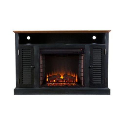 Southern Enterprises Gabriella 48 in. Freestanding Media Electric Fireplace TV Stand in Black with Walnut
