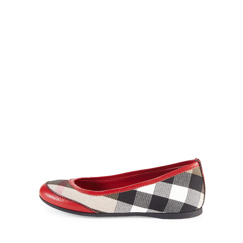 Burberry Girls' Check Ballerina Flats, Parade Red