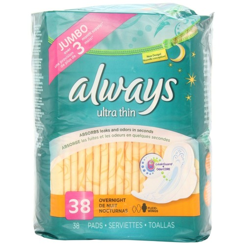 Always Pads, Ultra Thin, Overnight, 38 pads