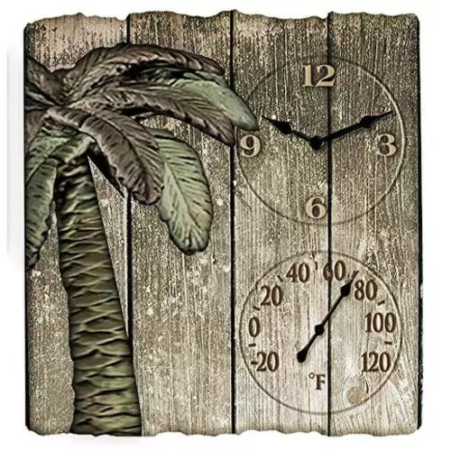 Taylor Digital TAP91940M Springfield Palm Tree Poly Resin Clock and Thermometer
