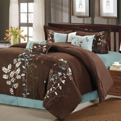 Chic Home 21-82-Q-02-US Bliss Garden 12 Piece Bed in a Bag Embroidered Comforter Set with 4 Piece Sheet Set, Brown - Queen