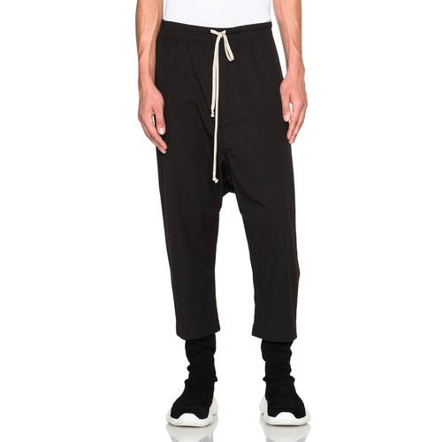 Rick Owens Drawstring Cropped Pants in Black
