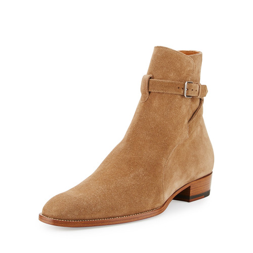 SAINT LAURENT Wyatt 40Mm Suede Jodhpur Boot, Light Cigar