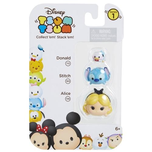 Disney Tsum Tsum 3 Pack Series 1 Figures - Alice, Stitch and Donald Duck