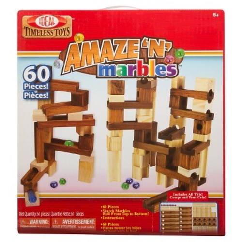 Ideal Amaze 'N' Marbles Classic Wood 60-Piece Construction Set
