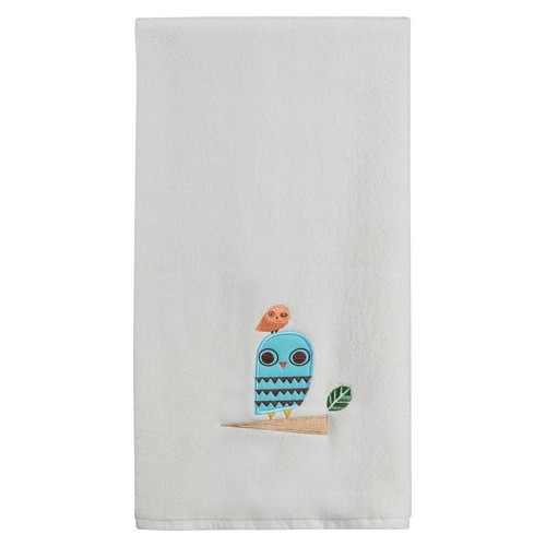 Give a Hoot Cream Whimsical Owls Embroidered Bathroom Bath Towel