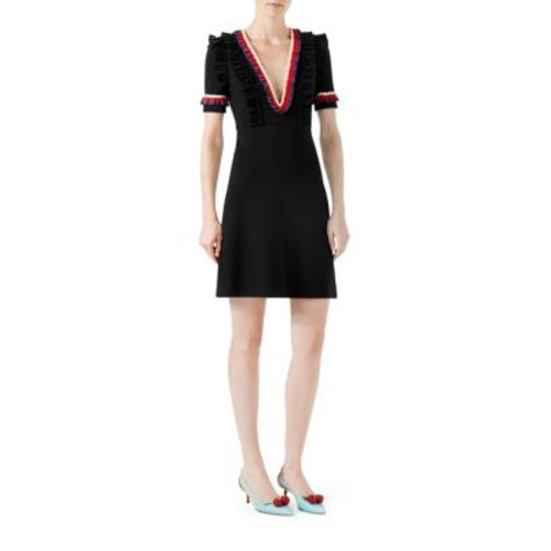 GUCCI Ruffled Viscose Jersey Dress