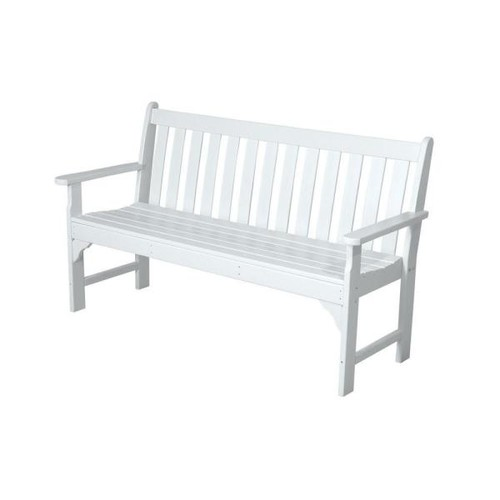 POLYWOOD Vineyard 60 in. White Patio Bench