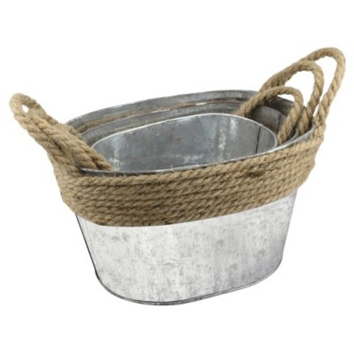 Stonebriar Collection 11 in. x 6in. Galvanized Metal Containers with Rope Trim and Handles (Set of 3)