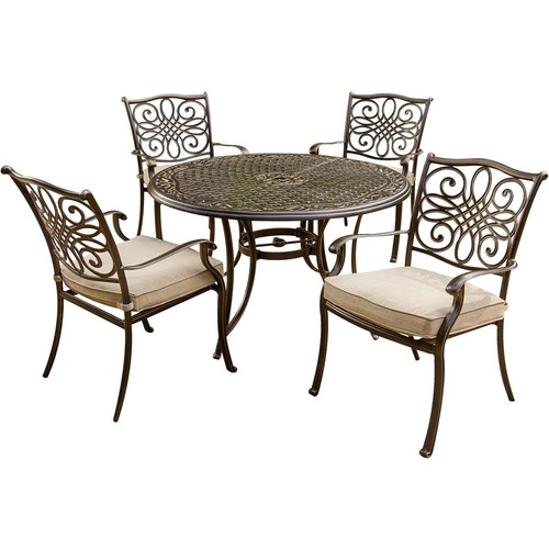 Hanover Traditions 5-Piece Aluminum Round Outdoor Dining Set with Protective Cover and Natural Oat Cushions