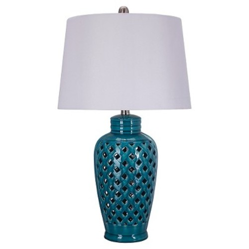 Fangio Lighting 26 in. Blue Ceramic Table Lamp with Lattice Design