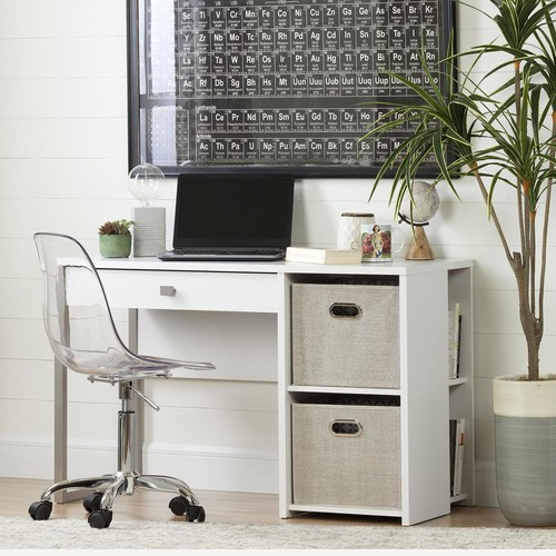 South Shore Interface Pure White Desk with Baskets