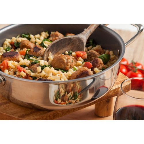 MAKER Homeware 3 Qt. Stainless Steel Saute Pan with Lid