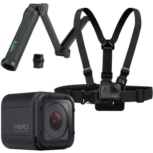 GoPro - Family Bundle - HERO Session HD Waterproof Action Camera with Chest Mount Harness and 3-Way Mount