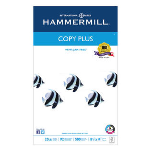 Hammermill Copy Plus Copy Paper 92 Brightness 20lb 8-1/2 x 14 White 500 Sheets/Ream