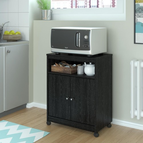 Dorel Landry Black Ebony Ash Microwave Cart