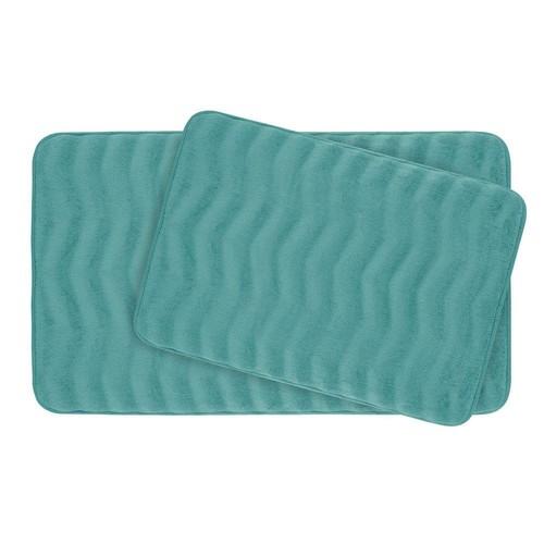 BounceComfort Waves Marine Blue Memory Foam 2-Piece Bath Mat Set