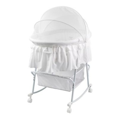 Dream On Me Lacy Portable 2-in-1 Bassinet And Cradle, White